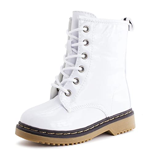 Girls Lace Up Combat Patent Faux Leather Boots White (Toddler)