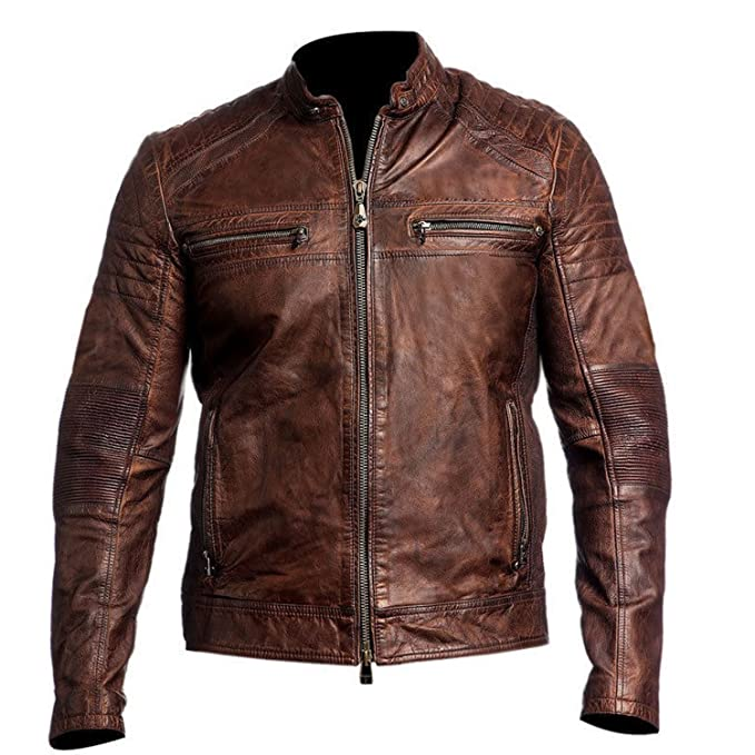 Spazeup Vintage Cafe Racer Distressed Brown Biker Leather Jacket at Amazon Mens Clothing store: