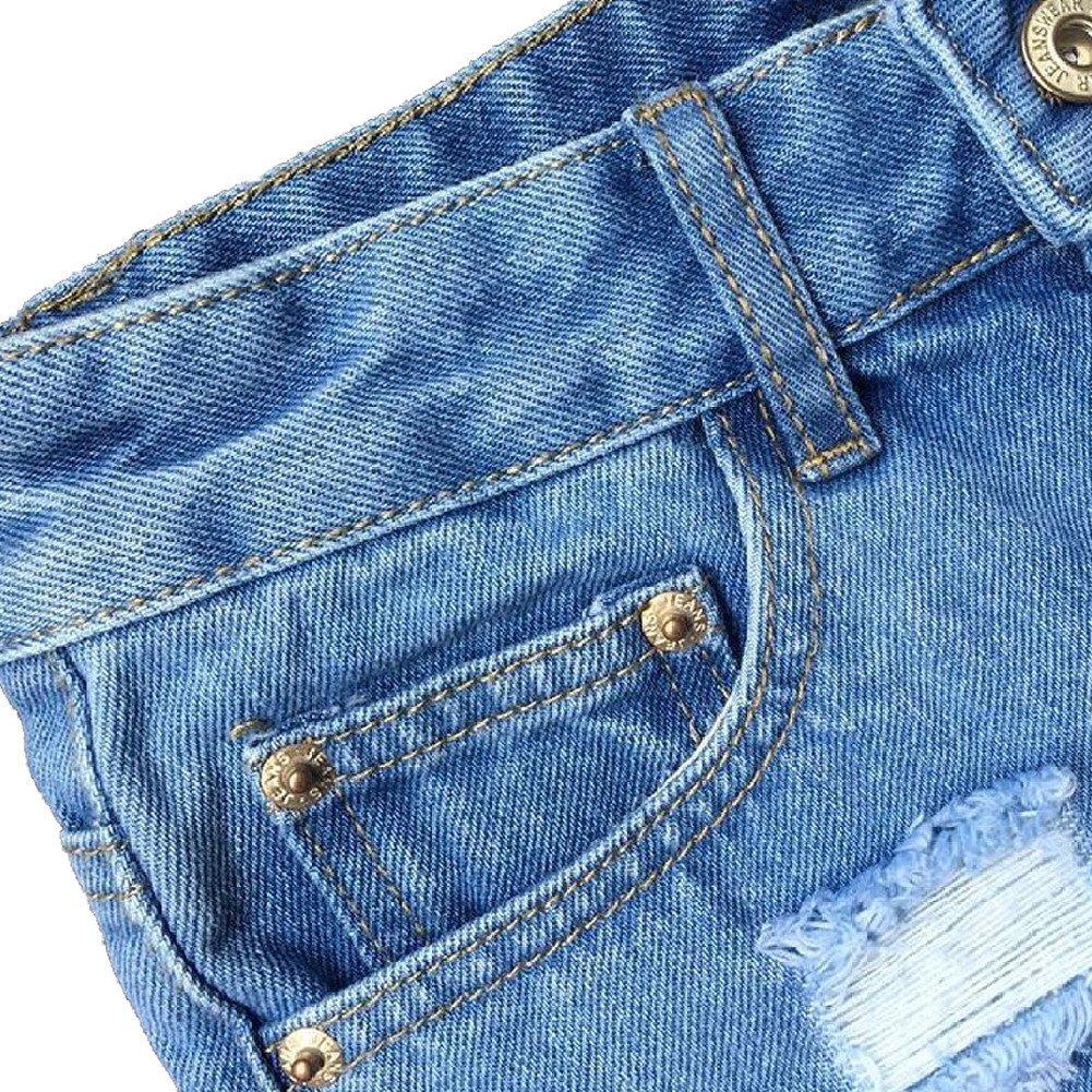 Haola Women's Juniors Denim High Waist Distressed Cutoff Shorts Blue L by Haola (Image #4)