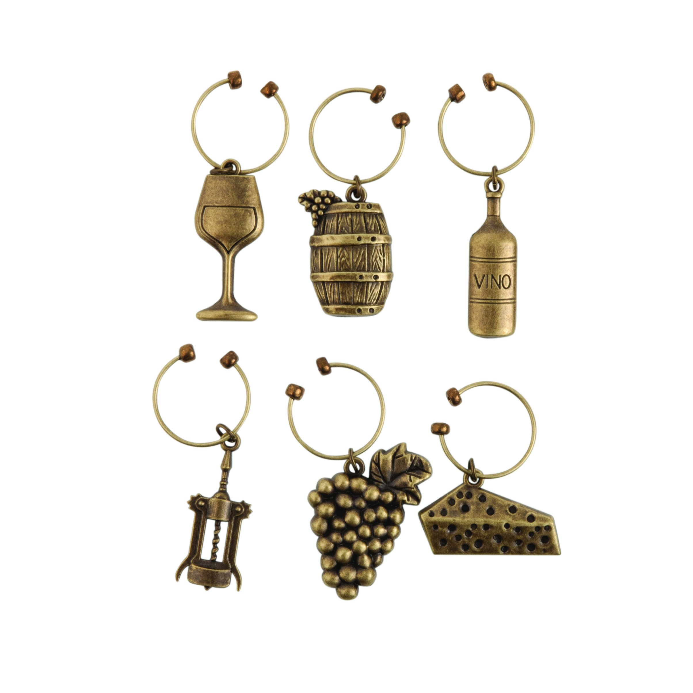 Twine Grapevine Vineyard Wine Charms by (Set of 6 charms)