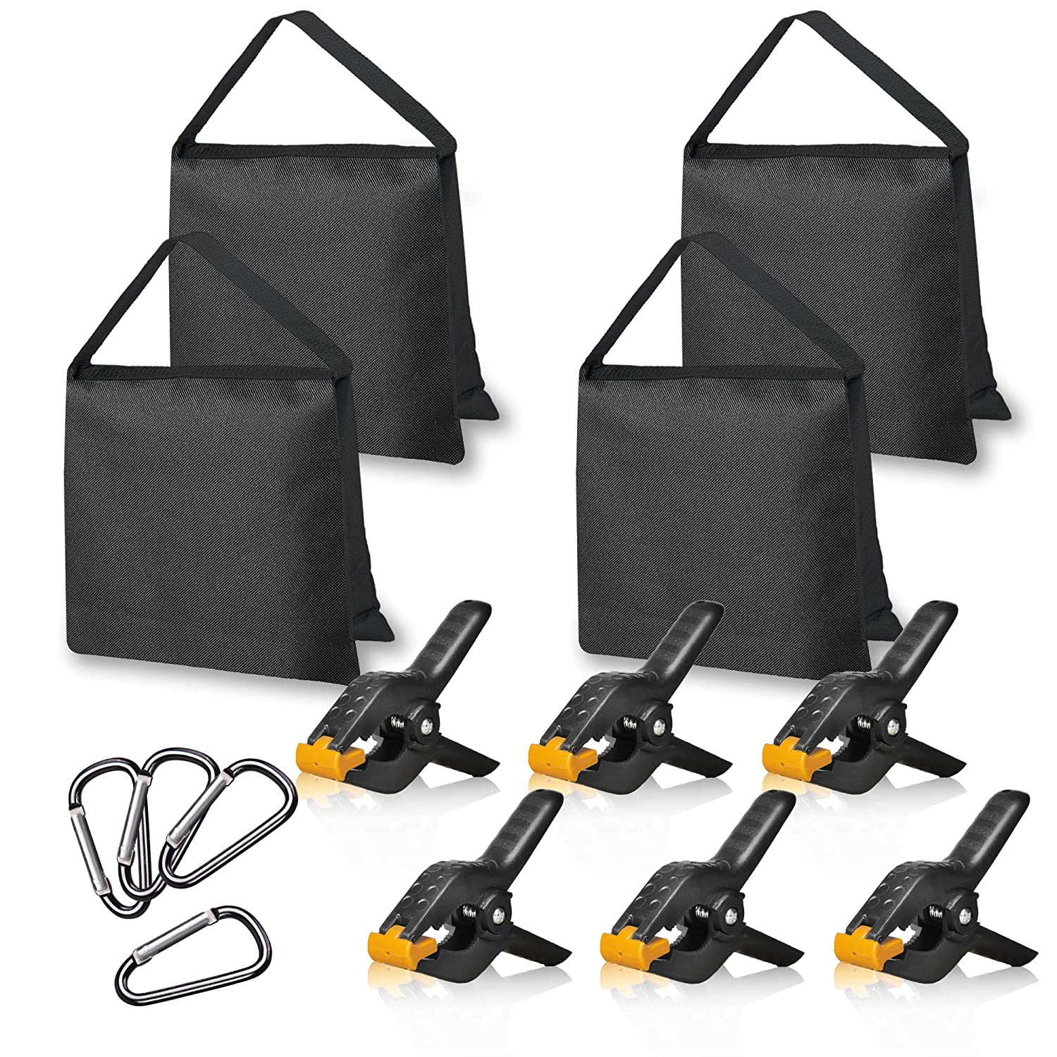 Emart 4 Packs of Heavy Duty Sandbag and 6 Packs of 4.5 inch Heavy Duty Spring Clamps Props for Photography Photo Video Studio to Fix Backdrop Stand Kit