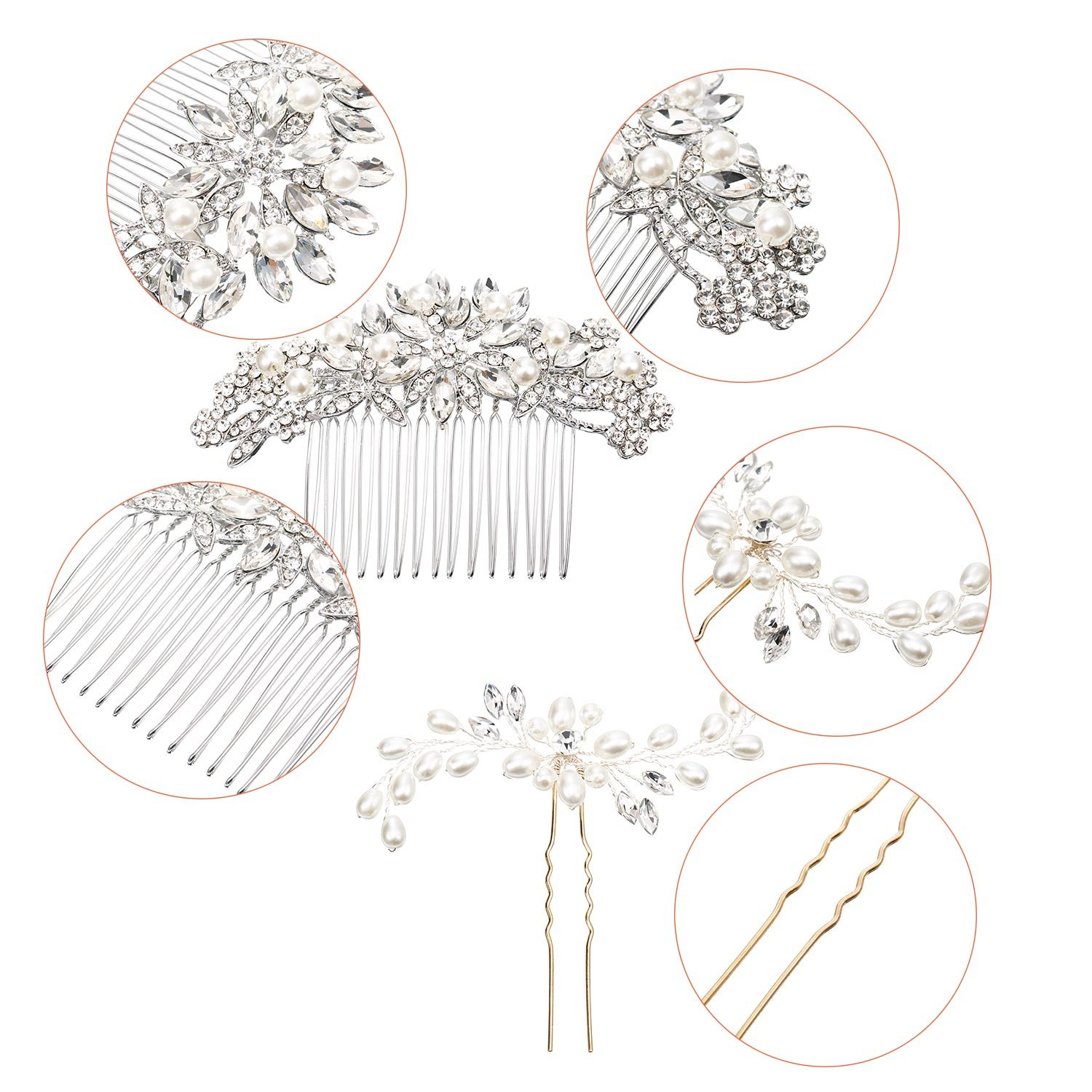 Gejoy 3 Pieces Elegant Wedding Crystal Hair Accessories, Leaves Flowers Hair Comb and 2 Pieces Rhinestone Bridal Hair Pins for Women, Bride or Bridesmaid by Gejoy (Image #3)