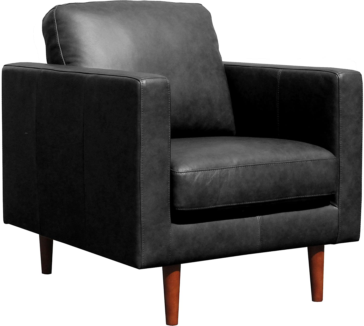 """Rivet Revolve Modern Leather Armchair with Tapered Legs, 33""""W, Black"""