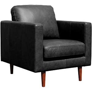Rivet Revolve Modern Leather Armchair with Tapered Legs
