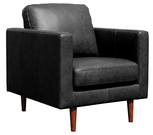 Rivet Revolve Modern Leather Armchair with Tapered Legs, 33 W, Black