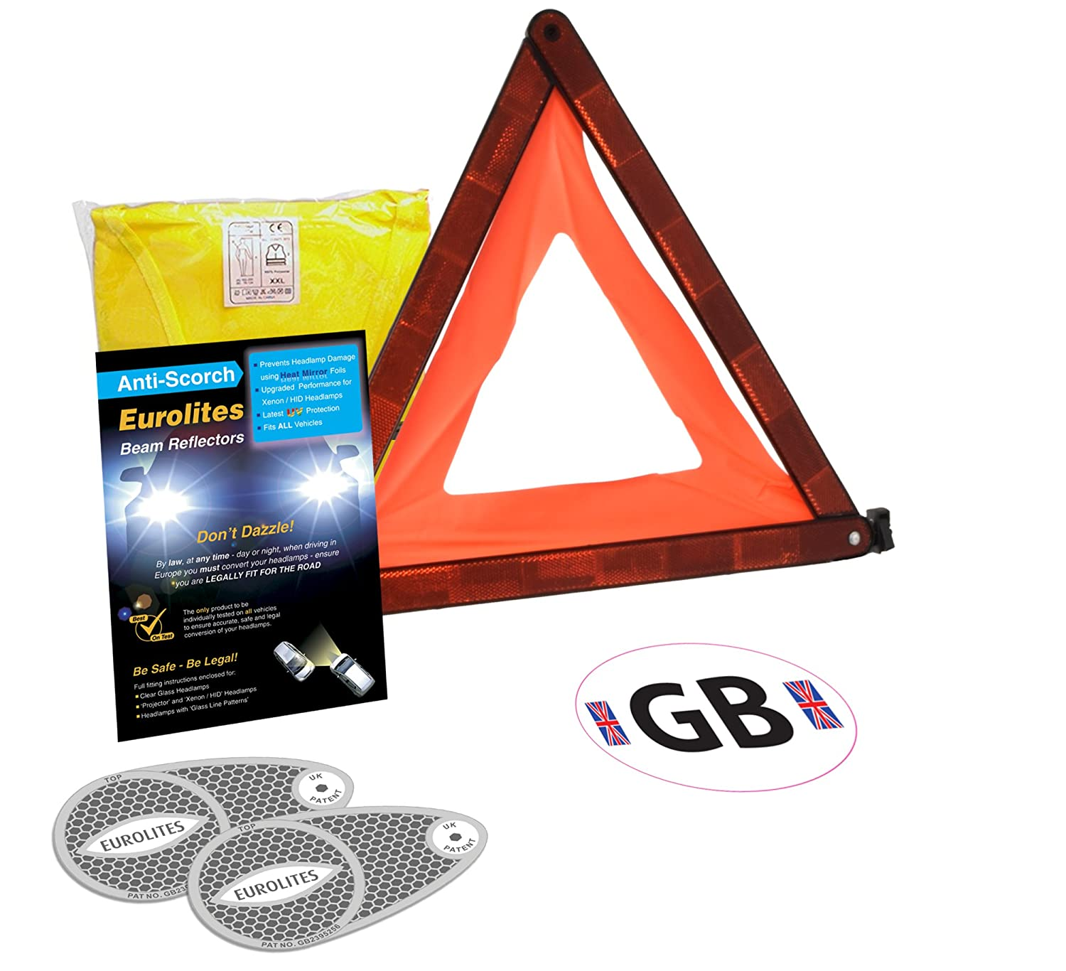 4 Piece European Motoring Driving Travel Kit Eurolites Headlamp Beam Deflectors Converters Warning Triangle GB Sticker High Visibility Vest (XXL) For Travelling Abroad