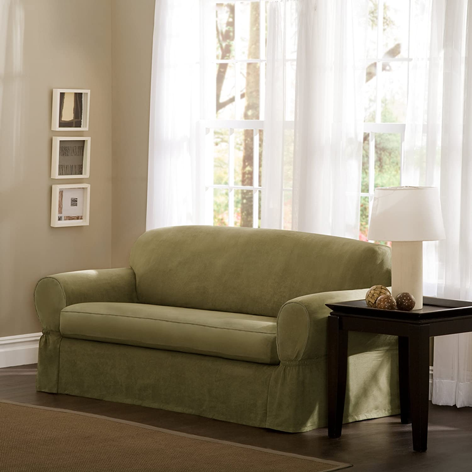 Amazon Maytex Piped Suede 2 Piece Sofa Slipcover Sage Home