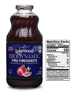 Lakewood Organic Biodynamic Juice, Pure Pomegranate, 32 Ounce (Pack of 6)