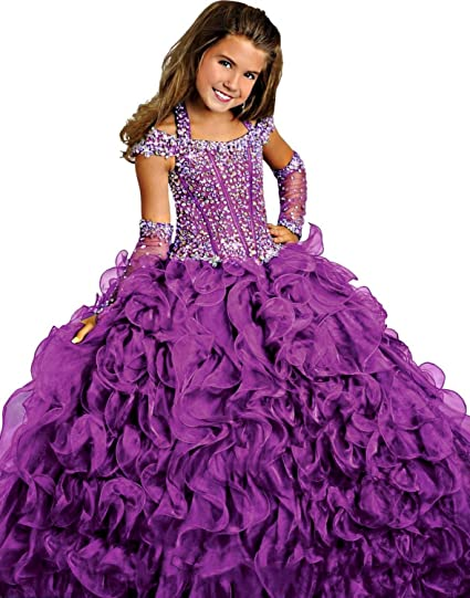 Review Y&C Girls Halter Chest Full Crystal Ball Gown Floor Length Pageant Dresses