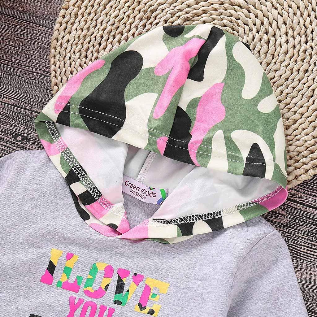 Pwtchenty Kleinkind Baby Jungen M/ädchen Brief Camouflage Hooded Tops Hosen Outfits Set Anzug Kinderkleidung Bodysuit Playsuit Set Babykleidung Baumwolle Kleidung Set