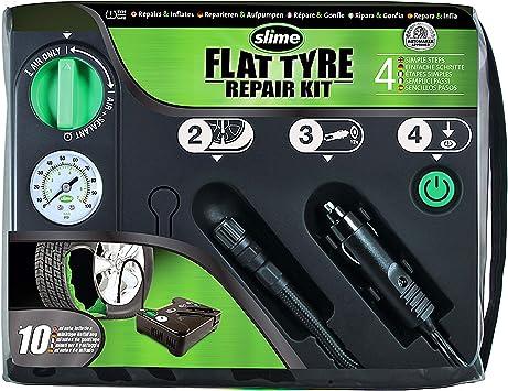 Slime 50129 Reparación de Pinchazos de Neumáticos, Kit de Emergencia, Incluye Sellante y Bomba de Neumático, Apto para Coches y Otros Vehículos de Carretera, Reparación en 10min
