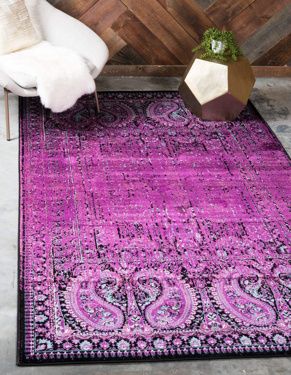 Unique Loom Imperial Collection Modern Traditional Vintage Distressed Lilac Area Rug 10 0 x 13 0