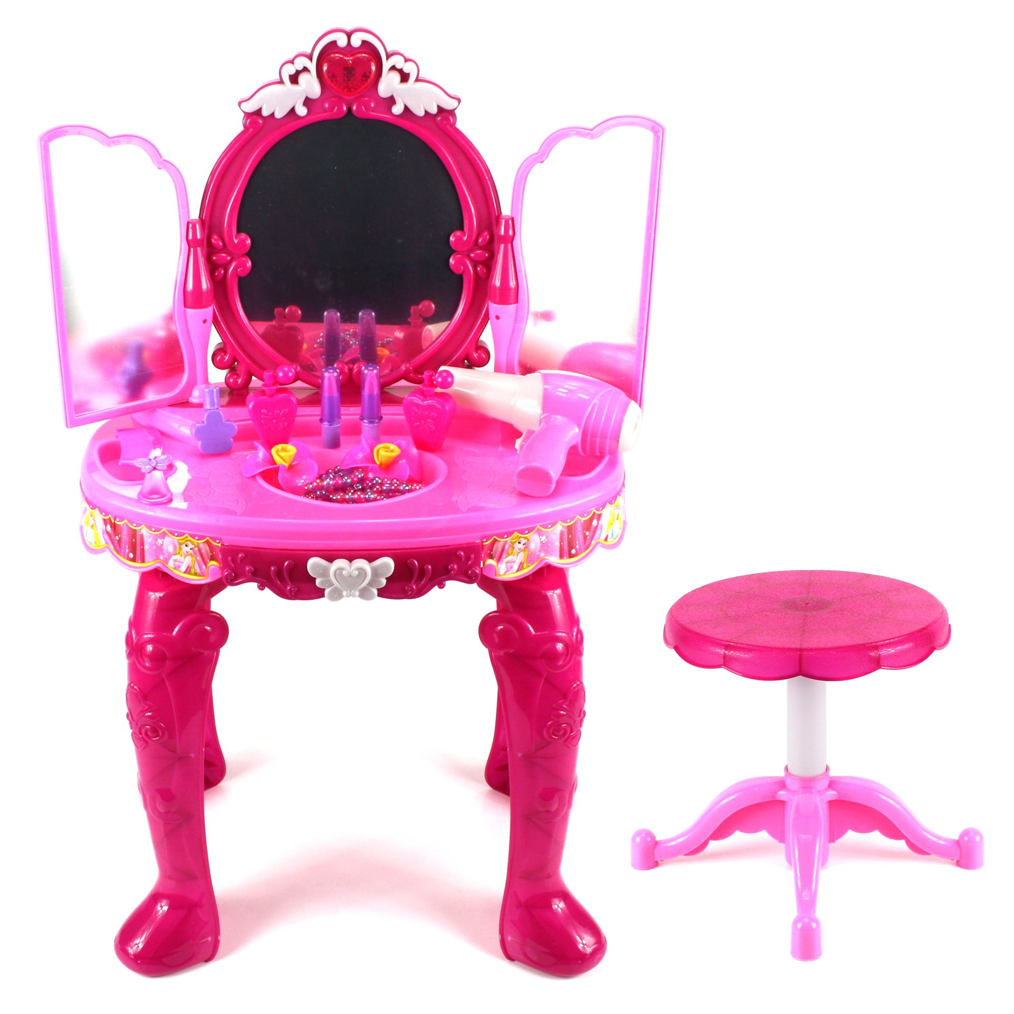 Magical Princess Jewelry Stand Pretend Play Battery Operated Toy Beauty Mirror Vanity Play Set w/ Flashing Lights, Sounds, Hair Dryer, Accessories
