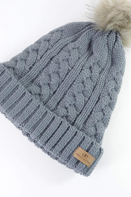 Grace Eleyae GE I Warm Knit Foldover Satin Lined Beanie with Faux Fur Pom