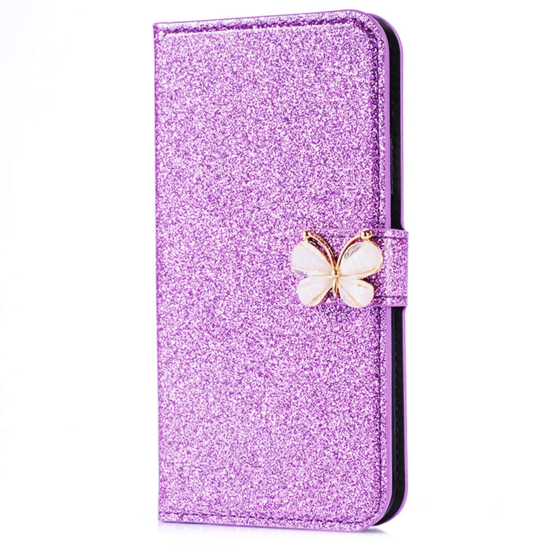 Okssud Coque iPhone X Glitter Strass, Portefeuille Flip Case pour iPhone XS Housse à Rabat Portefeuille PU Cuir Luxe Bling Glitter Paillettes Étui de Protection avec Fentes pour Cartes DYY2018002427#14