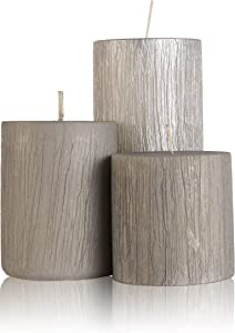 Blend-Divine Set of 3 Unscented Silver Pillar Candles Decoration Dinner Wedding Party Candles – Perfect Use for Home Décor - Church-Spa Candle, Restaurant – 1500 gm