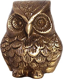 athizay Owl Statue Brass Metal Antique Gold Finish Premium Showpiece for Home Decoration and Giftings