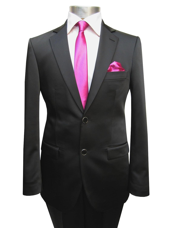 MUGA Hochzeitsanzug Satin Schwarz Glänzend