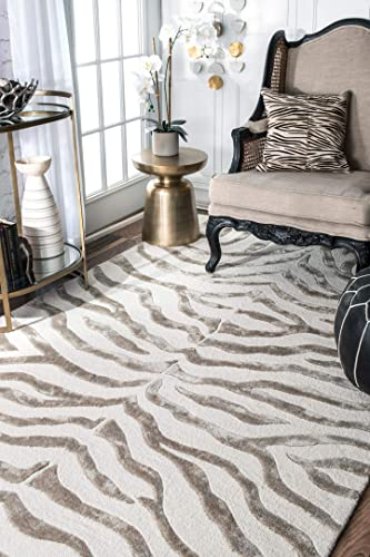 nuLOOM Zebra Hand Tufted Plush Wool Area Rug