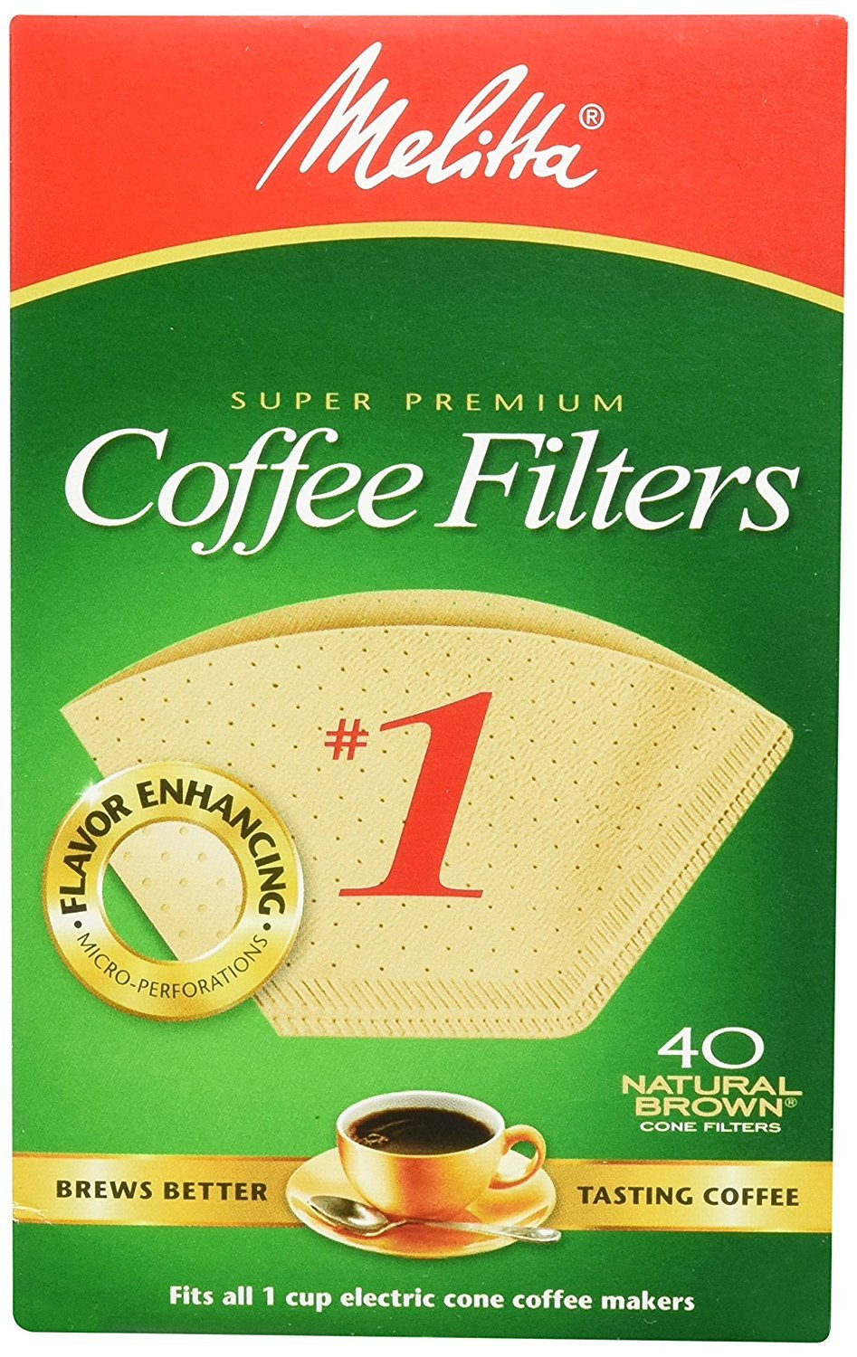 Melitta 620122 40 Count #1 Natural Brown Cone Coffee Filters (Pack of 5)