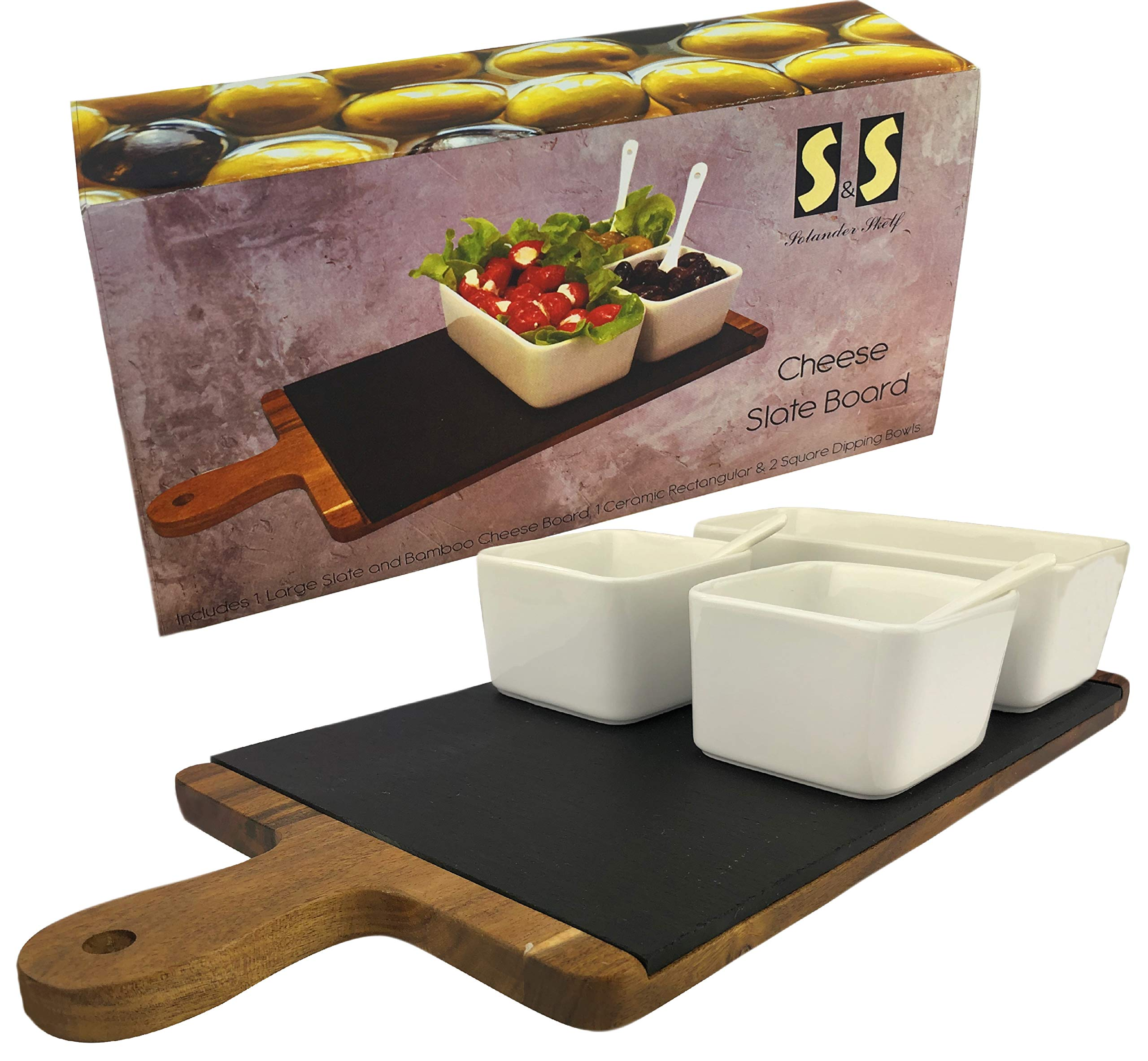Solander Skelf Acacia Wood Cheese Slate Board SET | Large One Ceramic Rectangular & 2-pieces Square Dipping Bowls with 2 Tasting Ceramic Spoons Modern Dips Set | Elegant Serving Tray