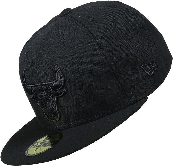 9b89b1cf4 New Era Mujeres Gorras   Gorra plana NBA Black On Black Chicago Bulls  59Fifty  Amazon.es  Ropa y accesorios