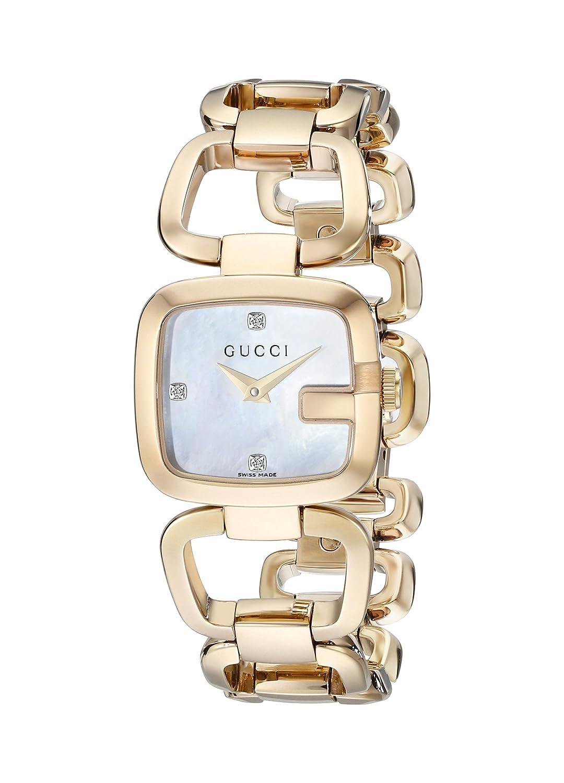 Gucci Damen-Armbanduhr G Analog Quarz Edelstahl beschichtet YA125513