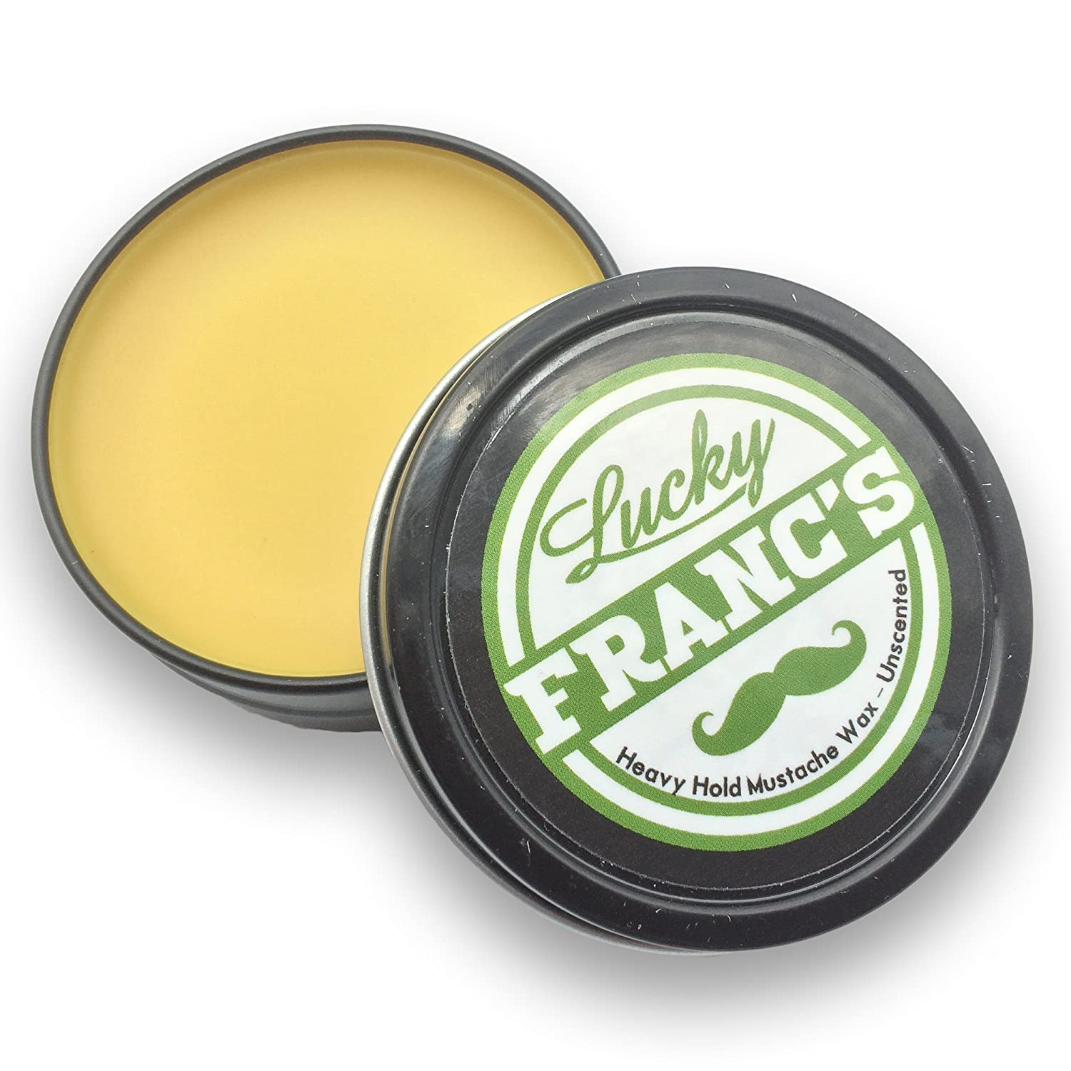 Mustache Wax. LARGE 2oz. Size Strong Hold Unscented. Handlebars, Fu Manchu, curly, or any style! Natural & Handmade in US. Works as beard wax too! *Lucky Franc's Brand* Red Cat Brands