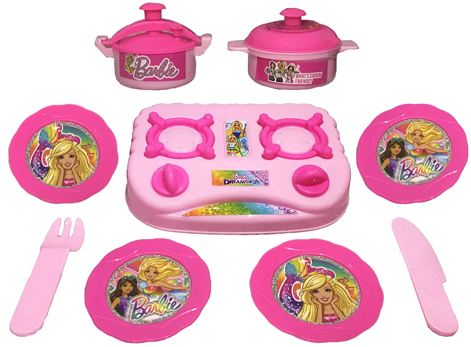 Buy Barbie Kitchen Role Play Toy 9 Pcs Online At Low Prices In