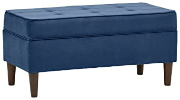 Rivet Martin Modern Storage Bench, 39u0026quot;W, Navy Velvet