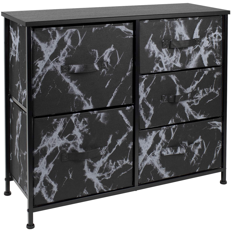 Sorbus Dresser with 5 Drawers - Furniture Storage Tower Unit for Bedroom, Hallway, Closet, Office Organization - Steel Frame, Wood Top, Fabric Bins (5-Drawer Dresser Chest, Marble Black – Black Frame)
