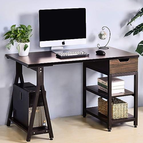 Merax Computer Desk with Drawer Computer Laptop Study Desk Home Office Desk Brown
