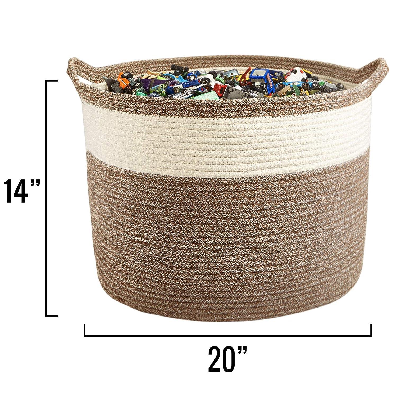 "XXL Cotton Rope Basket – 22""x22""x14"" – Extra Large Woven Basket – Multipurpose Blanket Storage Basket Organizer – Elegant and Modern Design – Ideal for Baby Nursery, Toys, Towels, Laundry Bin"