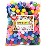 WAU Crafts 300 Pieces 1 inch - Assorted Multicolored Pom Poms Arts and Crafts DIY Projects