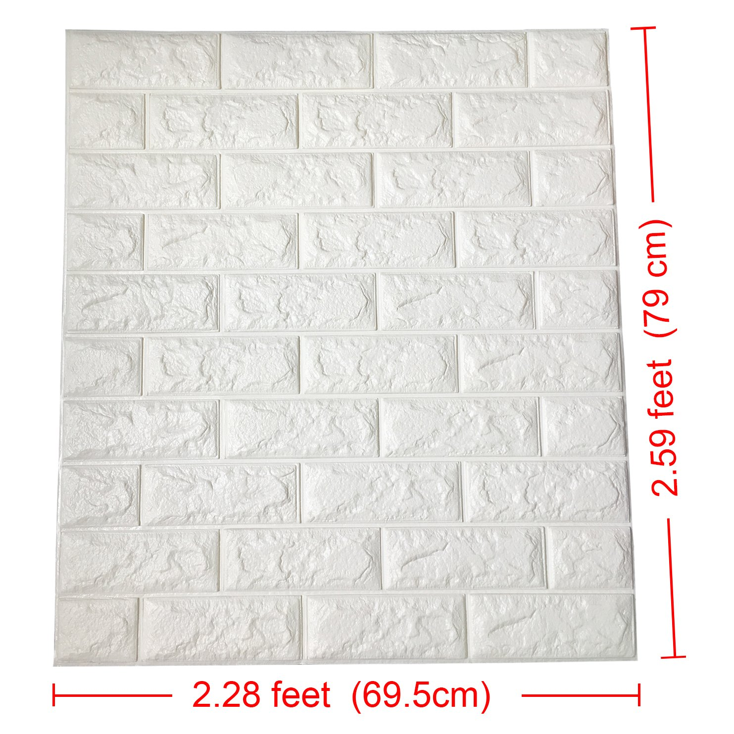 Art3d 29 Sq.Ft Peel and Stick 3D Wall Panels for Interior Wall Decor Pack of 5 White Brick Wallpaper