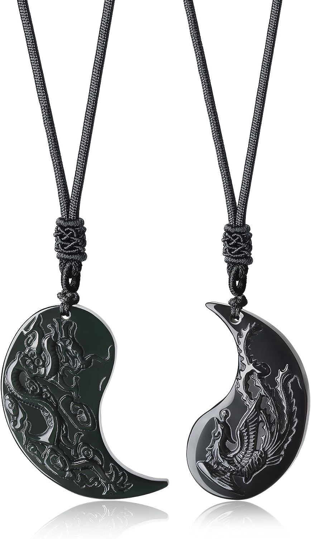 coai par Collares Colgantes para él y para ella con colgante de obsidiana con dragón y fénix tradicional, par Collares Yin Yang con cordón ajustable