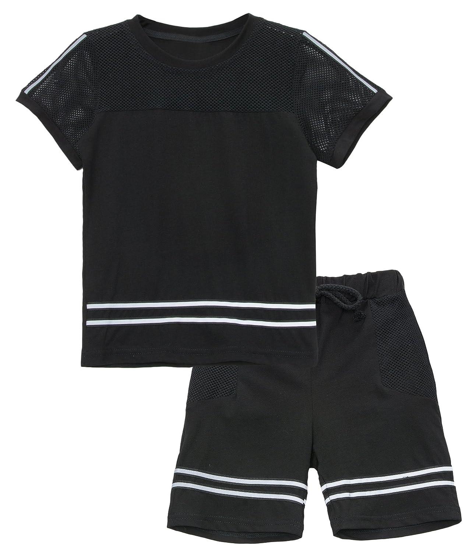 KISBINI Big Boys Breathable Summer Clothes Short Sleeve T Shirt and Shorts Set