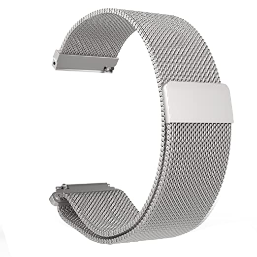 LoveBlue Compatible Pebble time 22mm Magnetic Milanese Loop Stainless Steel Band Replacement Accessories Compatible Pebble Time/Pebble Time ...