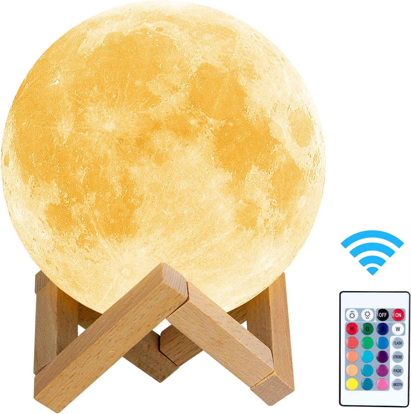 Lámpara de Luna 3D HOKEKI Luz Nocturna Luna Grande 16 Colores 5 ajuste del brillo Intensidad a Elegir Luz de Noche Cualquier Festival mejor regalos Kid dormitorio luces de la decoración