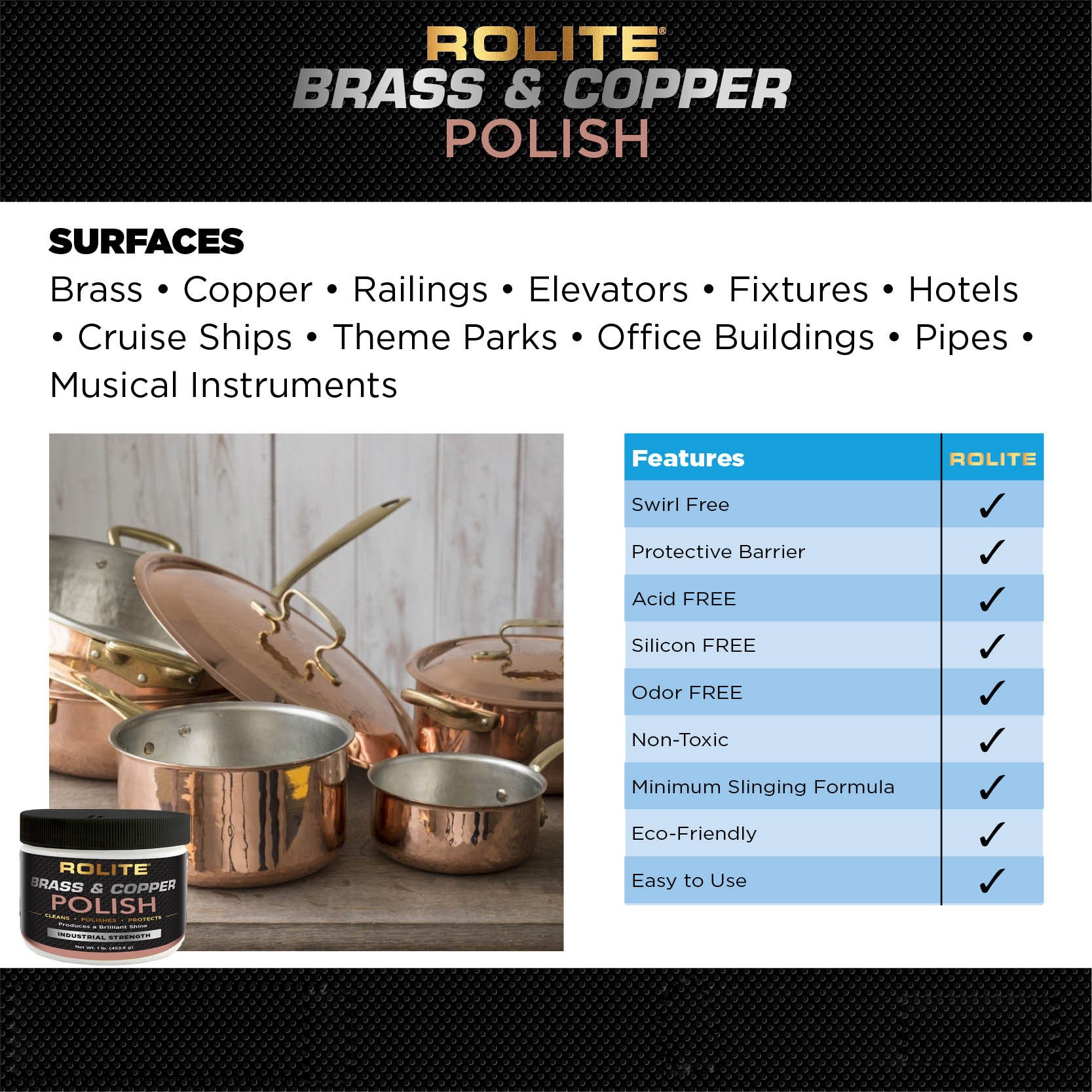 Rolite Brass & Copper Polish (4.5oz) Instant Polishing & Tarnish Removal on Railings, Elevators, Fixtures, Hotels, Cruise Ships, Office Buildings