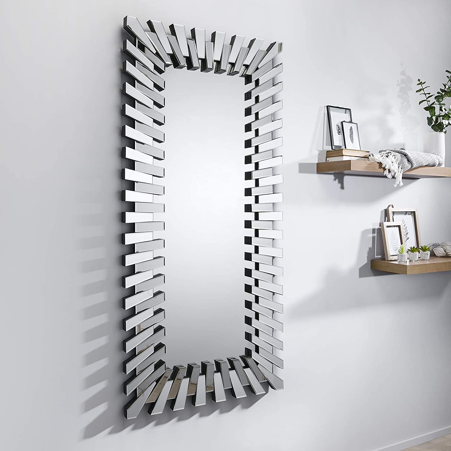 Furniturebox Uk Starburst Large Full Length Silver Stylish 3d Rectangular Modern Living Room Bedroom Wall Mirror Amazon Co Uk Kitchen Home
