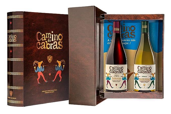 CAMINO DE CABRAS Estuche regalo – Producto Gourmet – Vino blanco - Godello Valdeorras + Vino tinto Crianza – Valdeorras – Mencía - Vino bueno para ...