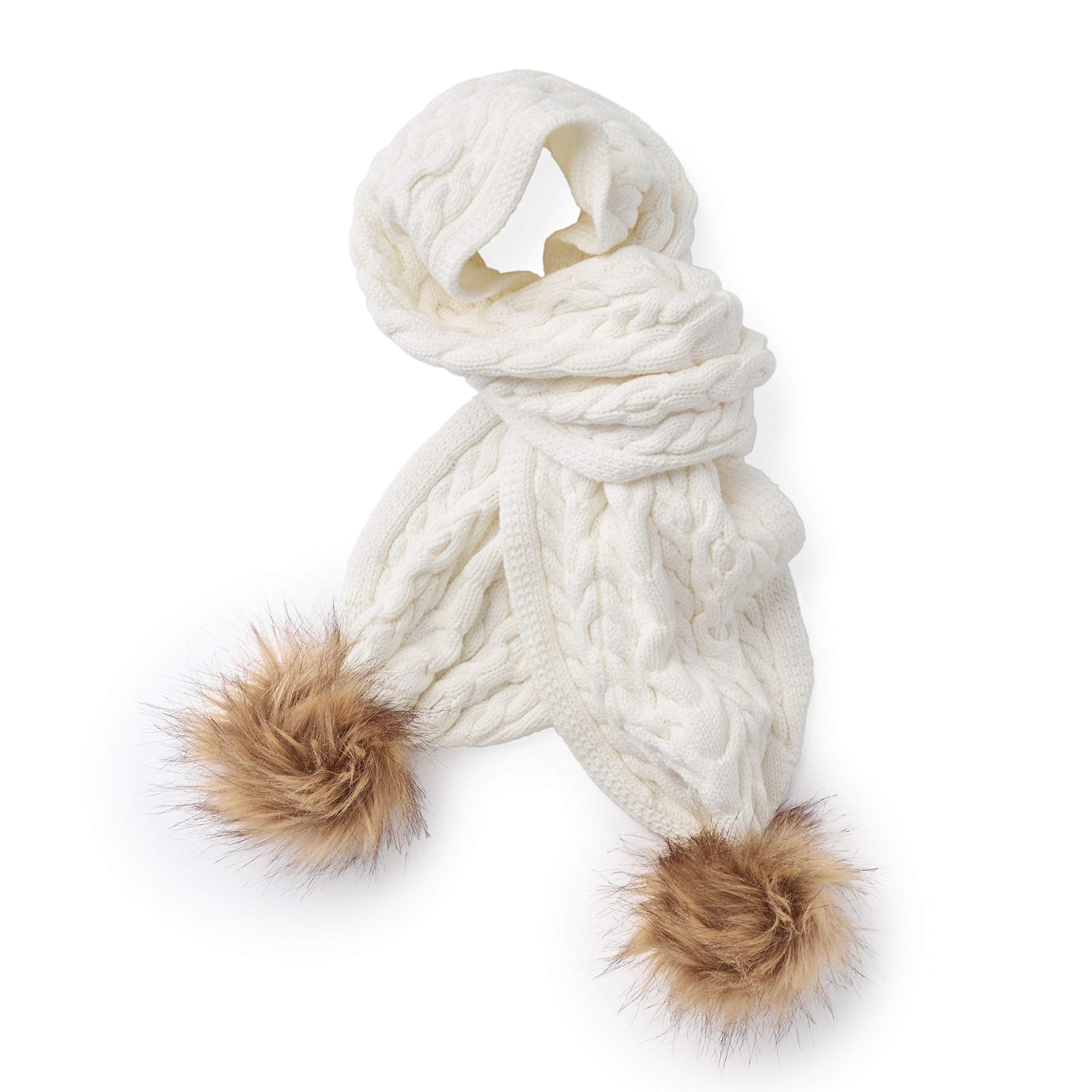 Hope & Henry Girls' White Scarf with Poms Made with Organic Cotton
