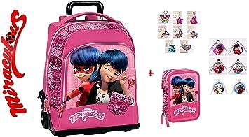 Mochila escolar Miraculous Ladybug universidad viaje lentejuelas rosa + estuche 3 pisos completo + collar colgante + llavero brillante: Amazon.es: Equipaje