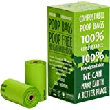 """UNNI 100% Compostable Dog Waste Poop Bags,120-Count,8 Refill Rolls,Size 9""""X13"""",Extra Thick 0.8 Mils,US BPI & European VINCOTTE OK HOME Certificated,Earth Friendly Highest ASTM6400 Rated