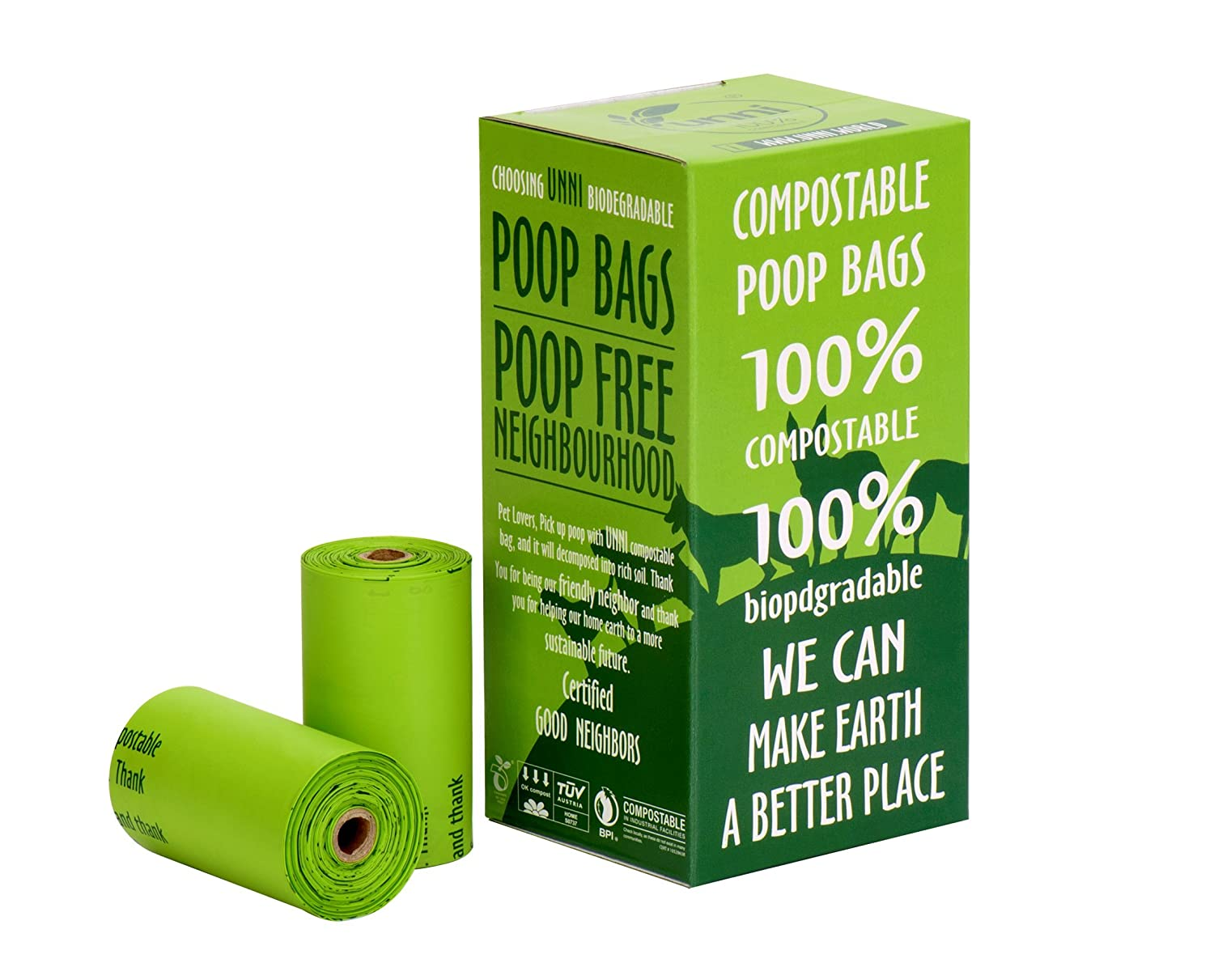 UNNI 100% Compostable Dog Poop Bags, Extra Thick Pet Waste Bags, 120 Count, 8 Refill Rolls, 9x13 Inches, Earth Friendly Highest ASTM D6400, US BPI and ...