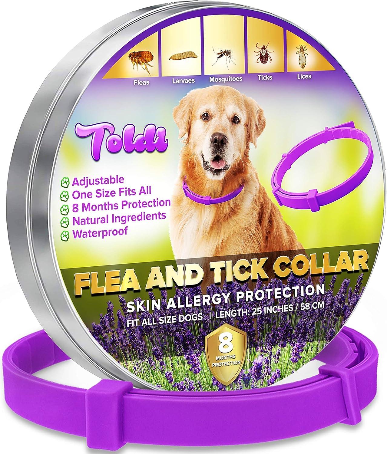 toldi Tratamiento-de-pulgas-para-Perros, Collar-antipulgas-Perros Ajustable, 8 Meses de protección-contra-pulgas-y-garrapatas-para-Perros Cachorros Collar Repelente de piojos y garrapatas
