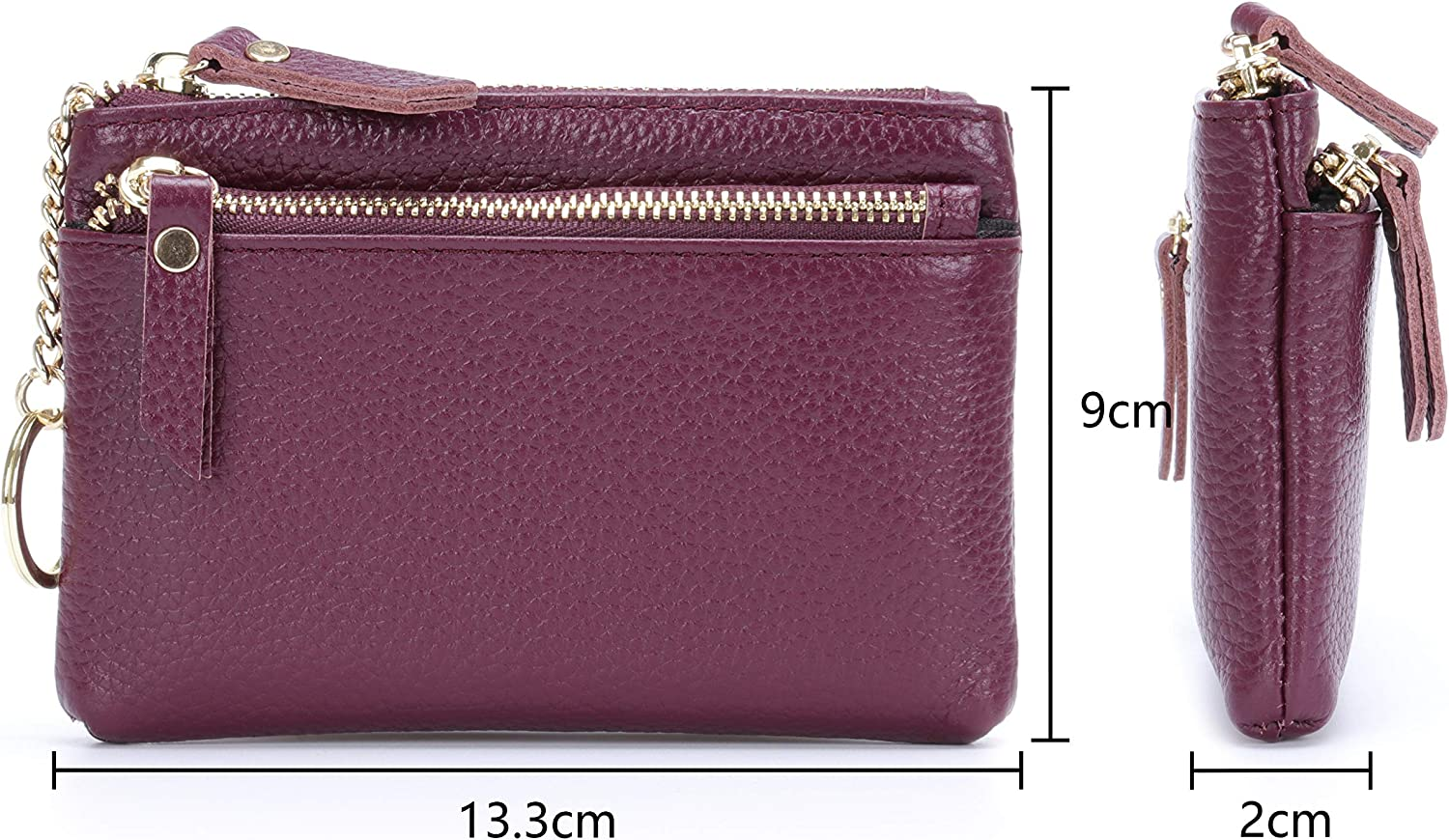 MuLier Womens Card Holder ID Card Case Girls Wallet with Detachable Key Ring