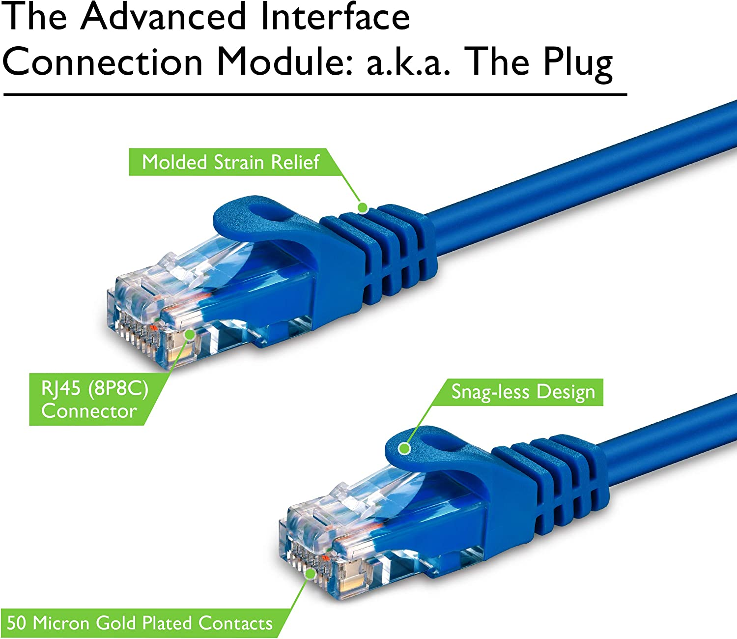 Blue GearIT 100-Pack Cat5e Patch Cable 2ft Feet Cat 5e Ethernet Cable Snagless Flexible Soft Tab Premium Series