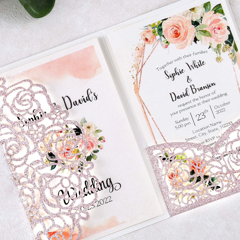 WEDDING INVITATIONS BLANK ROSE GOLD GLITTER PRINT EFFECT PACKS OF 10